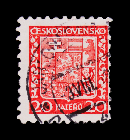 MOSCOW, RUSSIA - JUNE 20, 2017: A stamp printed in Czechoslovakia shows Coat of Arms, circa 1928 Editorial