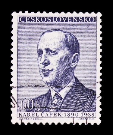 MOSCOW, RUSSIA - JUNE 20, 2017: A stamp printed in Czechoslovakia shows portrait of the Karel Capek, circa 1958 Editorial