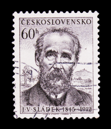 MOSCOW, RUSSIA - JUNE 20, 2017: A stamp printed in Czechoslovakia shows poet J.V, Sladek, circa 1955