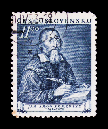 MOSCOW, RUSSIA - JUNE 20, 2017: A stamp printed in Czechoslovakia shows Jan A. Komensky, circa 1952 Editorial