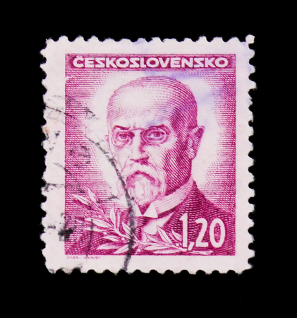 MOSCOW, RUSSIA - JUNE 20, 2017: A stamp printed in Czechoslovakia shows first President of Czechoslovakia - Thomas Masaryk, circa 1946
