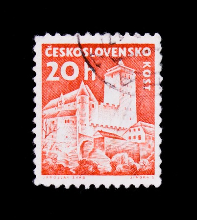 MOSCOW, RUSSIA - JUNE 20, 2017: A stamp printed in Czechoslovakia shows shows Kost Castle, circa 1960 Editorial