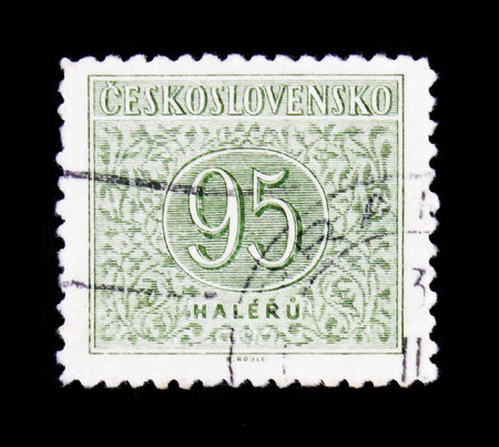 MOSCOW, RUSSIA - JUNE 20, 2017: A stamp printed in Czechoslovakia with the number 95, circa 1955 Stok Fotoğraf - 92975002
