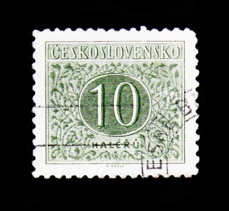 MOSCOW, RUSSIA - JUNE 20, 2017: A stamp printed in Czechoslovakia with the number 10, circa 1955 Stok Fotoğraf - 92975004