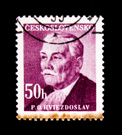 MOSCOW, RUSSIA - JUNE 20, 2017: A stamp printed in Czechoslovakia shows Pavol Orszagh Hviezdoslav, poet, dramatist, translator, circa 1949