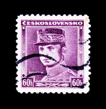 MOSCOW, RUSSIA - JUNE 20, 2017: A stamp printed in Czechoslovakia shows General Milan Rastislav Stefanik, circa 1945