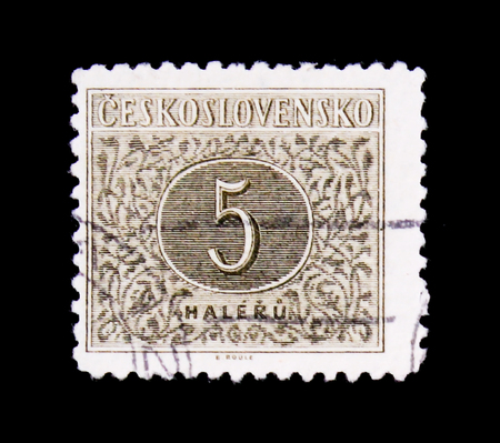 MOSCOW, RUSSIA - JUNE 20, 2017: A stamp printed in Czechoslovakia with the number 5, circa 1955 Stok Fotoğraf - 92975031