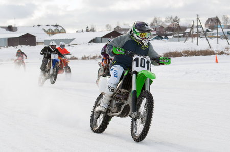 BREKHOVO, MOSCOW REGION, RUSSIA - JANUARY 21, 2017: A. Latyshev (101) during Winter open cup of DOSAAF MX Speedway on January 21, 2017 Editorial