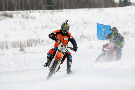 BREKHOVO, MOSCOW REGION, RUSSIA - JANUARY 21, 2017: A. Kosilov (89) during Winter open cup of DOSAAF MX Speedway on January 21, 2017