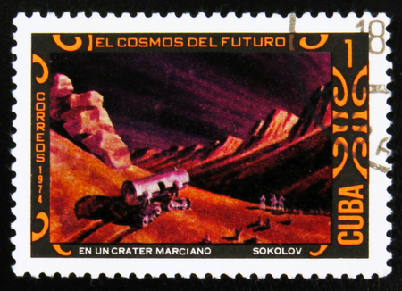 MOSCOW, RUSSIA - JULY 15, 2017: A stamp printed in Cuba shows futurisric cosmic scenery, the series Editorial