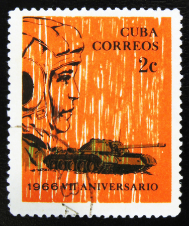 MOSCOW, RUSSIA - JULY 15, 2017: Rare stamp printed in Cuba shows Tankman and tank, circa 1966