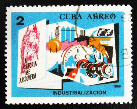 MOSCOW, RUSSIA - JULY 15, 2017: A stamp printed in Cuba shows People in Industry with the inscription Industrialization from the series Conquests of the Revolution, circa 1966