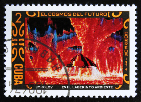 MOSCOW, RUSSIA - JULY 15, 2017: A stamp printed in Cuba shows futurisric cosmic scenery, the series Cosmos of the future - In the maze burning paintings by A. Sokolov, circa 1974 Editorial