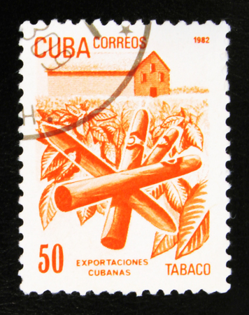 MOSCOW, RUSSIA - JULY 15, 2017: A stamp printed in Cuba shows Cuban export products: Tobacco, with inscription and name of series Cuban Export, circa 1982 Editorial