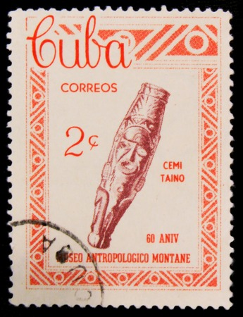 MOSCOW, RUSSIA - JULY 15, 2017: A stamp printed in Cuba shows archaeological artifact, needle bar, series Taino Civilization artifacts, Montane Anthropology Museum, 60th anniversary, circa 1963 Editorial