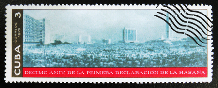 MOSCOW, RUSSIA - JULY 15, 2017: A stamp printed in Cuba dedicated to 10th anniversary of the first declaration of Havana, circa 1970