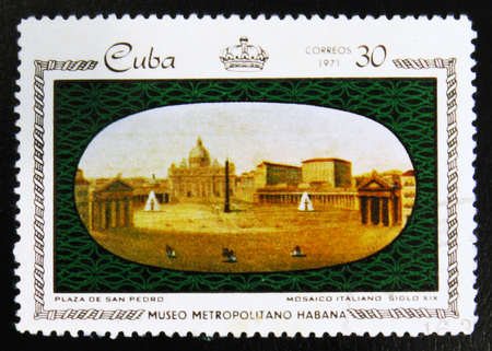 MOSCOW, RUSSIA - JULY 15, 2017: A stamp printed in Cuba shows Plaza de San Pedro, the series Porcelain and Mosaics in Metropolitan Museum, Havana, circa 1971 Editorial
