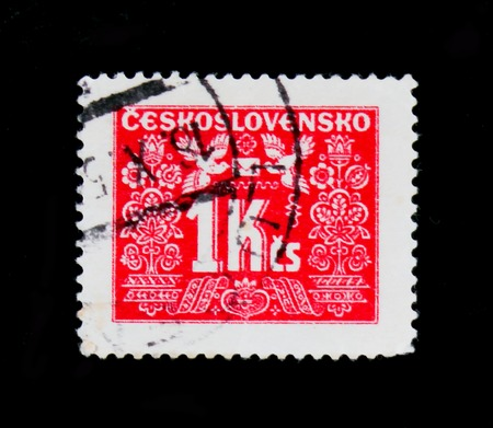 MOSCOW, RUSSIA - JUNE 20, 2017: A stamp printed in Czechoslovakia shows shows Postage due, circa 1946 Editorial