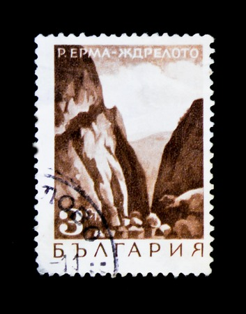 MOSCOW, RUSSIA - JUNE 26, 2017: A stamp printed in Bulgaria shows Erma-Jdreloto mountain pass, circa 1968 Editorial