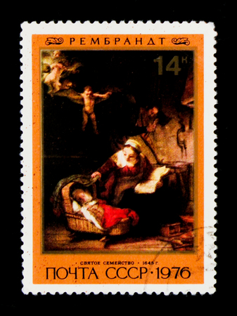 MOSCOW, RUSSIA - JUNE 26, 2017: A stamp printed in USSR (Russia) shows a painting Holy Family, from the series Rembrandts painting, circa 1976