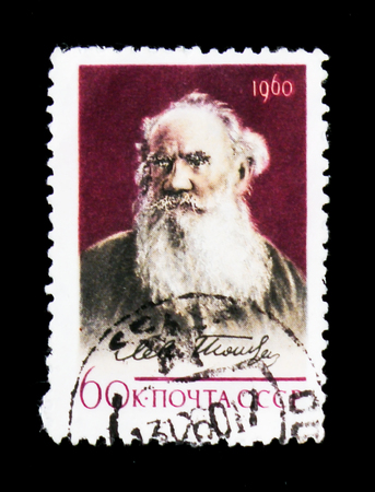 MOSCOW, RUSSIA - JUNE 26, 2017: A stamp printed in USSR (Russia) shows portrait of Leo Tolstoy - Russian classic writer, 50th Death Anniversary, circa 1960