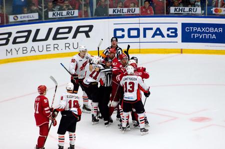 PODOLSK, RUSSIA - SEPTEMBER 3, 2017: M. Fisenko (11) fight on hockey game Vityaz vs Avangard on 10th Russia KHL championship on September 3, 2017, in Podolsk, Russia. Vityaz won 6:2 Redakční