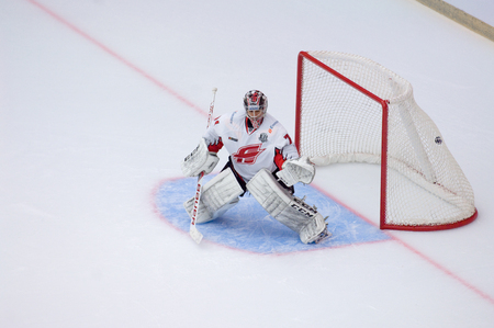 PODOLSK, RUSSIA - SEPTEMBER 3, 2017: O. Shilin (74) on training on hockey game Vityaz vs Avangard on 10th Russia KHL championship on September 3, 2017, in Podolsk, Russia. Vityaz won 6:2 Redakční