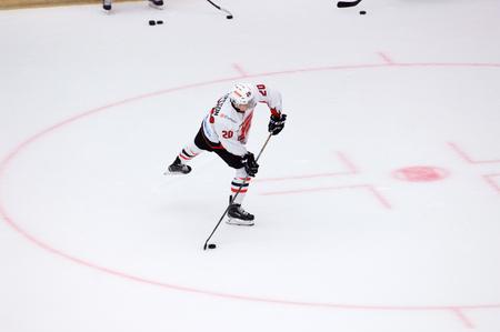 PODOLSK, RUSSIA - SEPTEMBER 3, 2017: A. Petersson (20) on training just before hockey game Vityaz vs Avangard on 10th Russia KHL championship on September 3, 2017, in Podolsk, Russia. Vityaz won 6:2 Redakční
