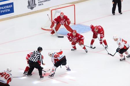 PODOLSK, RUSSIA - SEPTEMBER 3, 2017: K. Semyonov (94) and D. Semin (42) on face-off on hockey game Vityaz vs Avangard on 10th Russia KHL championship on September 3, 2017, in Podolsk, Russia. Vityaz won 6:2 Redakční
