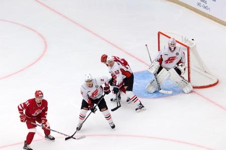 PODOLSK, RUSSIA - SEPTEMBER 3, 2017: D. Furch (33) on gate on hockey game Vityaz vs Avangard on 10th Russia KHL championship on September 3, 2017, in Podolsk, Russia. Vityaz won 6:2 Editorial