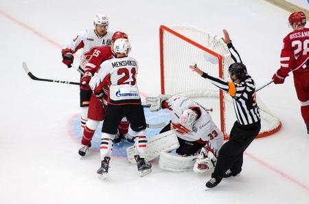 PODOLSK, RUSSIA - SEPTEMBER 3, 2017: D. Furch (33) save the gate on hockey game Vityaz vs Avangard on 10th Russia KHL championship on September 3, 2017, in Podolsk, Russia. Vityaz won 6:2 Editorial