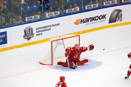 PODOLSK, RUSSIA - SEPTEMBER 3, 2017: I. Saprykin (40) in action on hockey game Vityaz vs Avangard on 10th Russia KHL championship on September 3, 2017, in Podolsk, Russia. Vityaz won 6:2 Redakční