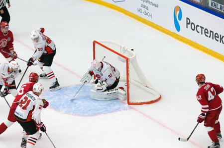 PODOLSK, RUSSIA - SEPTEMBER 3, 2017: D. Furch (33) miss a goal on hockey game Vityaz vs Avangard on 10th Russia KHL championship on September 3, 2017, in Podolsk, Russia. Vityaz won 6:2 Redakční