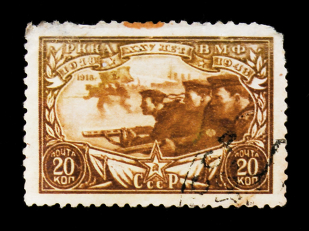 MOSCOW, RUSSIA - JUNE 26, 2017: Rare stamp printed in USSR (Russia) shows sea trooprs attack, circa 1948