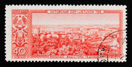 MOSCOW, RUSSIA - JUNE 26, 2017: A stamp printed in USSR (Russia) shows view of Vilnius, Lithuania, circa 1958