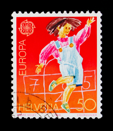 MOSCOW, RUSSIA - SEPTEMBER 3, 2017: A stamp printed in Switzerland shows Honking game, Europa (C.E.P.T.) serie, circa 1989