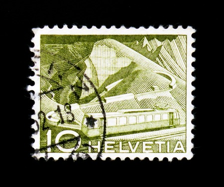 MOSCOW, RUSSIA - SEPTEMBER 3, 2017: A stamp printed in Switzerland shows Mountain railway at Rocher de Naye, Landscapes and technics serie serie, circa 1952 Editorial