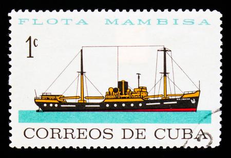 MOSCOW, RUSSIA - SEPTEMBER 3, 2017: A stamp printed in Cuba shows Rio Jibacoa, Merchant Fleet serie, circa 1962 Editorial