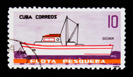 MOSCOW, RUSSIA - SEPTEMBER 3, 2017: A stamp printed in Cuba shows Sigma ship, Fishing ships serie, circa 1965