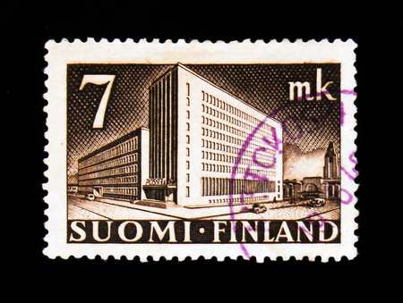 MOSCOW, RUSSIA - SEPTEMBER 3, 2017: A stamp printed in Finland shows Post Administration Building, serie, circa 1942