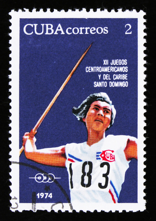 MOSCOW, RUSSIA - JUNE 26, 2017: A stamp printed in Cuba shows Javelin, series 12th Central American and Caribbean Games, Santo Domingo, circa 1974 Éditoriale