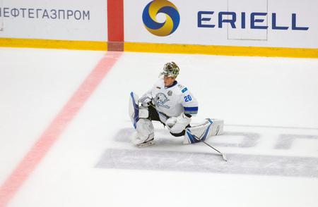 PODOLSK, RUSSIA - SEPTEMBER 10, 2017: Goalkeeper S. Kudryavtcev (20) training on hockey game Vityaz vs Barys on 10th Russia KHL championship on September 10, 2017, in Podolsk, Russia. Vityaz won 5:1
