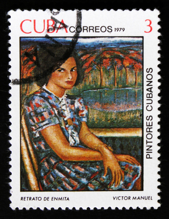 MOSCOW, RUSSIA - JUNE 26, 2017: A stamp printed in Cuba shows draw by artist Victor Manuel Garcia Valdes - Portrait of Enmita, Cuban painters issue, circa 1979 Éditoriale