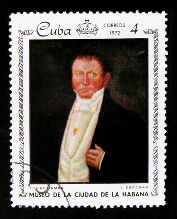 MOSCOW, RUSSIA - JUNE 26, 2017: A stamp printed in Cuba shows a painting Portrait of Thomas Gamba by V. Escobar, the series City Museum of Havana, circa 1972
