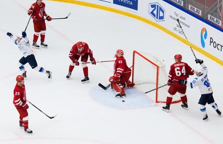 PODOLSK, RUSSIA - SEPTEMBER 10, 2017: I. Saprykin (40) miss a goal on hockey game Vityaz vs Barys on 10th Russia KHL championship on September 10, 2017, in Podolsk, Russia. Vityaz won 5:1