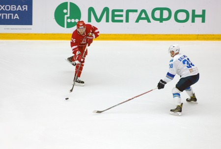PODOLSK, RUSSIA - SEPTEMBER 10, 2017: A. Kopeikin (25) vs K. Dallman (38) on hockey game Vityaz vs Barys on 10th Russia KHL championship on September 10, 2017, in Podolsk, Russia. Vityaz won 5:1