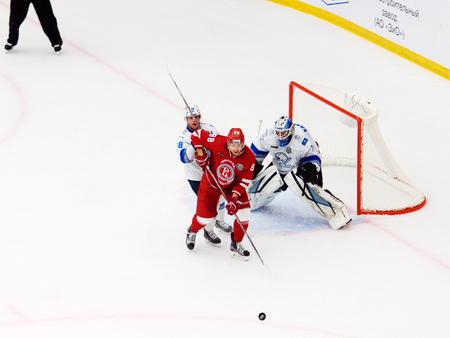 PODOLSK, RUSSIA - SEPTEMBER 10, 2017: A. Voroshilo (88) attack on hockey game Vityaz vs Barys on 10th Russia KHL championship on September 10, 2017, in Podolsk, Russia. Vityaz won 5:1