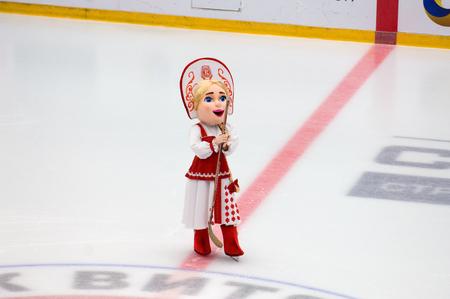 PODOLSK, RUSSIA - SEPTEMBER 10, 2017: Mascot of Vityaz team Lyubava just hockey game Vityaz vs Barys on 10th Russia KHL championship on September 10, 2017, in Podolsk, Russia. Vityaz won 5:1