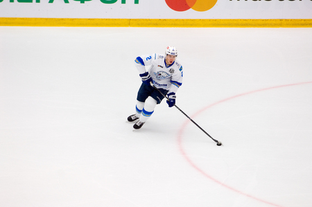 PODOLSK, RUSSIA - SEPTEMBER 10, 2017: Roman Savchenko (2) in action on hockey game Vityaz vs Barys on 10th Russia KHL championship on September 10, 2017, in Podolsk, Russia. Vityaz won 5:1 Redakční