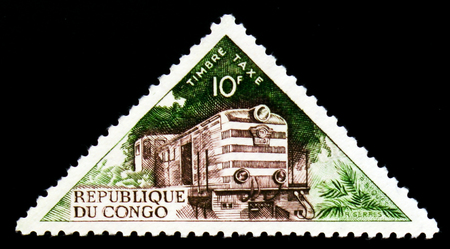 MOSCOW, RUSSIA - SEPTEMBER 3, 2017: A stamp printed in Congo shows Diesel-locomotive, Transport serie, circa 1961